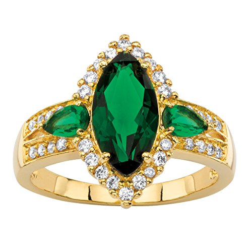 Marquise-Cut Simulated Green Emerald and CZ 18k Gold-Plated Halo Ring Size (Green Murano Glass Ring)