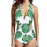 Women Sexy Bikini Underwear See Through,Women's Leaf Print One-Piece Swimsuit Swimsuit Beachwear Bikini,White,XL