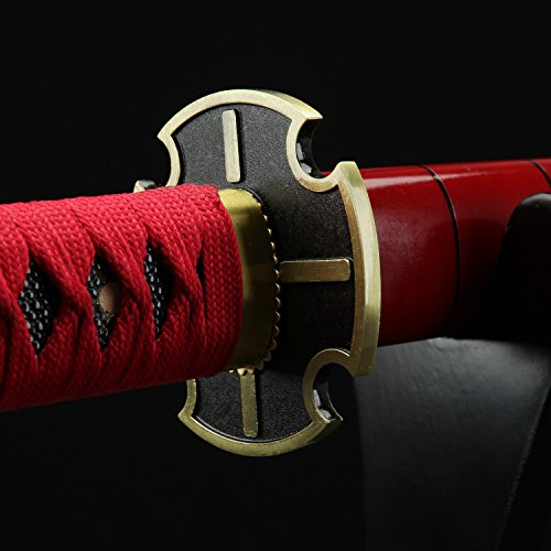 (Auway One Piece Roronoa Zoro Sandai Kitetsu 1045 Carbon Steel Katana Sword with Wooden Sheath Great for Cosplay/Collection)