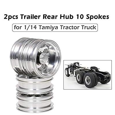 Cigooxm 2pcs Trailer Rear Hub Aluminum Alloy Rim 10 Spokes for 1/14 Tamiya Tractor Truck RC Climber Trailer: Electronics