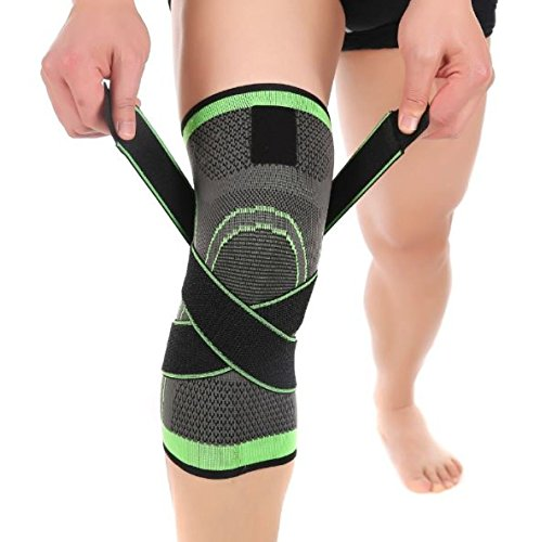 3D Pressurized Fitness Running Cycling Knee Support Braces Elastic Nylon Sport Compression Pad Sleeve For Basketball (X-Large) ()