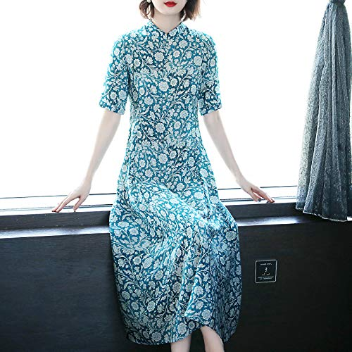 BINGQZ Casual Vestido Falda Larga de Seda de Manga Corta con ...
