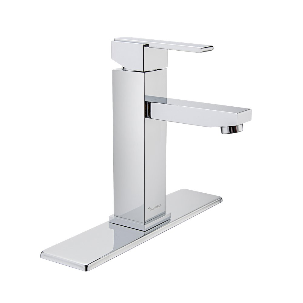 RBROHANT Single Handle Bathroom Faucet For Single Hole or Three Hole Brass Basin Mixer Taps With Cover Plate Matte Black (BF65001CP) (Polished Chrome) by RBROHANT (Image #1)