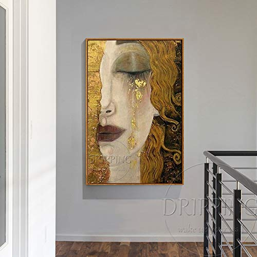 (SoulSpaze Top Artist Pure Hand-Painted Luxury Art Woman in Golden Tear Oil Painting Reproduction Gustav Klimt Oil Painting Size 4)