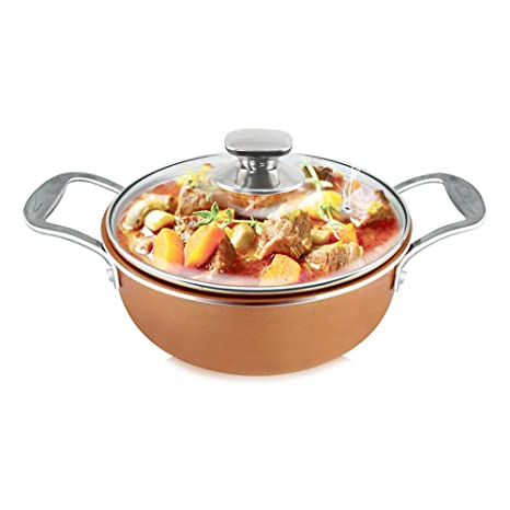 SIMPLE & Co Cacerola de Wok de Cobre Antiadherente de 2,8 qt con Tapa