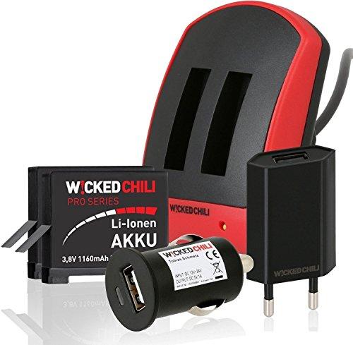 Wicked Chili 6in1 Set für GoPro Hero 4 Black, Silver - Dual Ladegerät + 2 Pro Series Akkus je 1160 mA + KFZ Adapter + Ladekabel + Netzteil (micro-USB Eingang)
