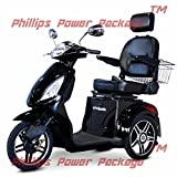 E-Wheels - EW-36 Elite Scooter with Electromagnetic Brakes - 3-Wheel - Black - PHILLIPS POWER PACKAGE TM - TO $500 VALUE