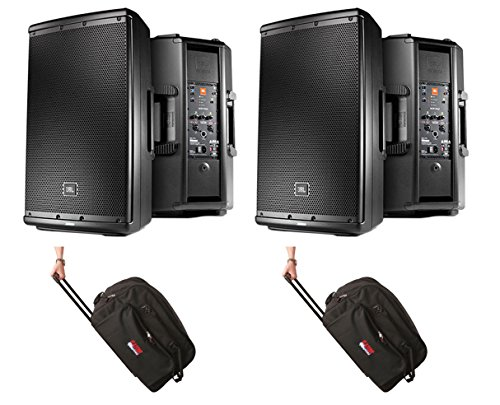"""12"""" Two-Way Multipurpose Self-Powered Sound Reinforcement Speakers Pair w/Stands & Cables - JBL EON612"""