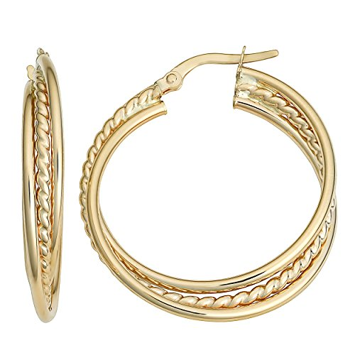 Kooljewelry 10k Yellow Gold Overlapping Round Hoop Earrings