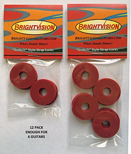Ruby Red Silicone Rubber Guitar Strap Locks - Grolsch Style