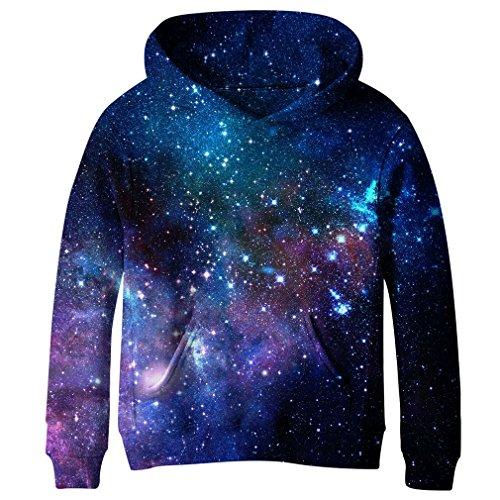 (SAYM Big Girls Galaxy Fleece Pockets Sweatshirts Jacket Pullover Hoodies NO31)