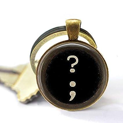 Llavero de máquina de escribir marca de preguntas semi colon – joyería para escribir tipo de