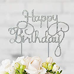 Happy Birthday Cake Topper - Silver Metal with Crystal Rhinestones - Birthday Party Decorations - Perfect Gift or Keepsake (Happy Birthday Silver)