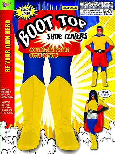 Forum Adult Yellow Super Hero Boot Tops Fits Up to Calks Size 14