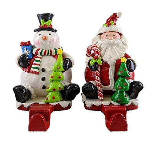 Gerson Snowman & Santa Claus Clay Dough Christmas Stocking Holders - Set of 2 - Jolly Snowman Stocking