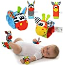 4 Packs Animal Wrist Rattle & Foot Finder Set Developmental Soft Toys for Infant Baby Kids Encourages Baby to Reach and Grab, Awakening Muscles