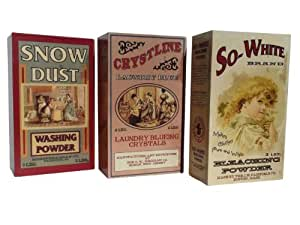 Set of Three Assorted Wooden Laundry Box Signs - Vintage Ads