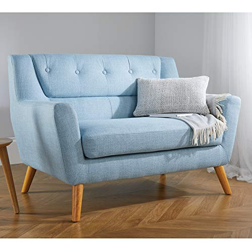 Happy Beds Lambeth 2 Seater Duck Egg Blue Fabric Sofa