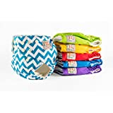 Bamboo Cloth Diapers by Planet Baby - 6 Bamboo Cloth Diapers All in Two & 6 Bamboo 4 Layer Snap-in Ultra-Absorbent Inserts - One Size Reusable Washable Snap Pocket Cover
