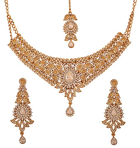 llywood Very Attractive Traditional Beautiful Paisley Motif White Rhinestone Grand Bridal Designer Jewelry Necklace Set for Women in Antique Gold Tone ()