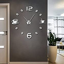 The Geeky Days Cafe DIY Large Wall Clock Frameless Giant Wall Clock Modern Design Cafe Coffee Mug Coffee Bean Wall Decor Kitchen Wall Watch (Silver)