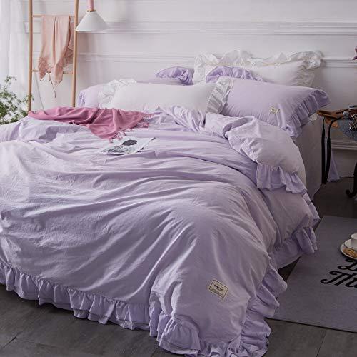 100%コットンロマンティックプリンセススタイル ホワイト/ピンク/グレー/パープル/グリーン4寝具セット 綿のベッドリネンセット クイーンサイズ/キングサイズ キルト羽毛布団カバーベッドスカート (キングサイズ, パープル) B075RBMQR9 パープル キングサイズ
