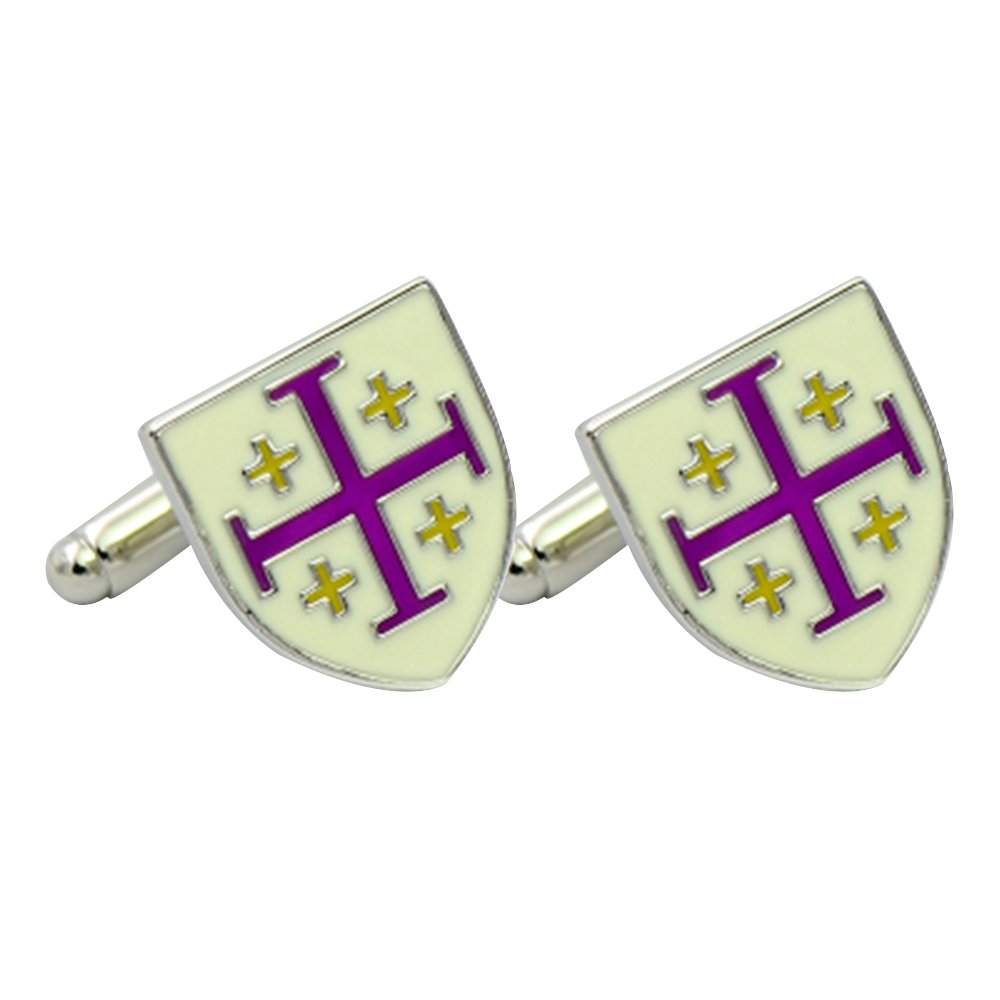 Amytong High end classy godfather enamel cufflinks white and purple color, French shirt daily use