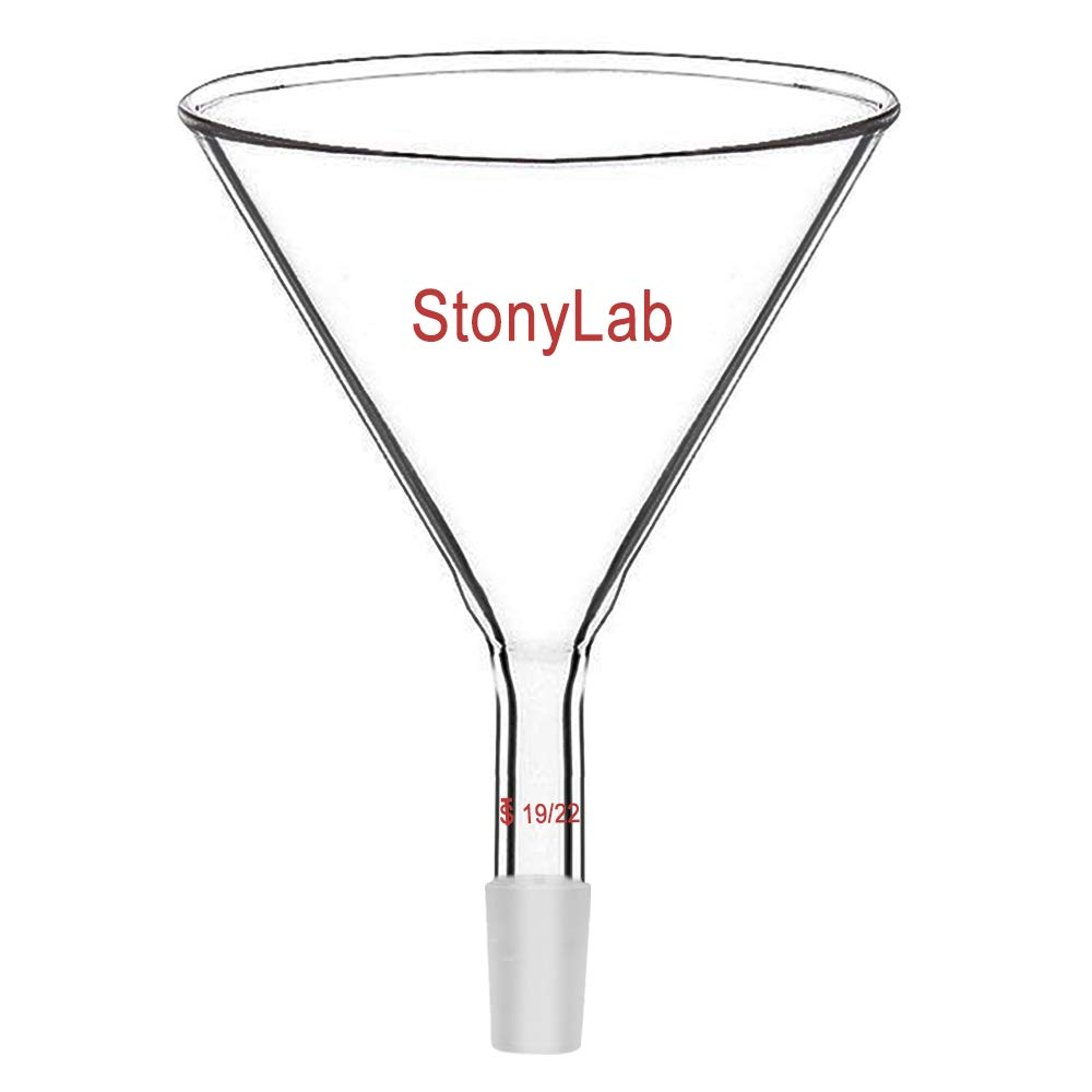 StonyLab Glass Short Stem Powder Funnel with 100 mm Top O.D. and 19/22 Inner Joint Filter Funnel Glass Funnel by stonylab