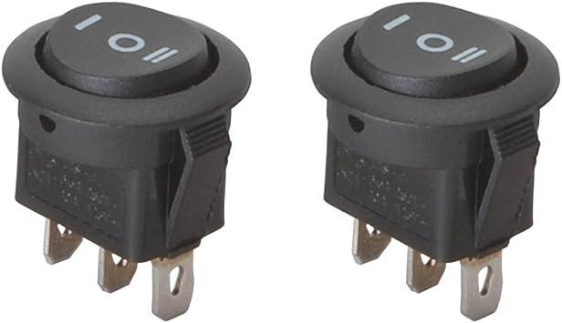 Parts Express SPDT Automotive Round Rocker Switch Center Off 2 Pack Black