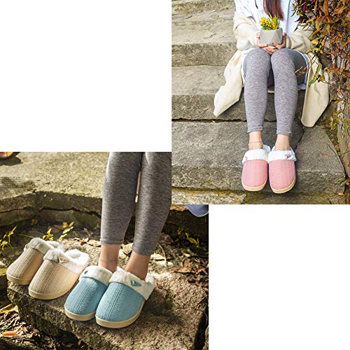 Grey Light Plush Slip Slippers Memory Clog Knit Wool Women Soft Slippers Foam Warm Leather Slippers On Indoor Fleece Home House wUnqvXHn7x