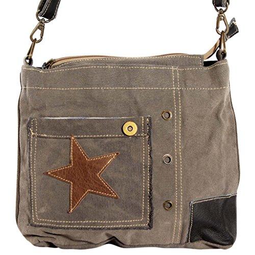 Festnight Stylisch Damentasche Umhängetasche Schultertasche aus Canvas und Echtleder Frauen Tasche mit Stern Dekoriert Grau 30x6x27cm