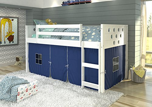 DONCO KIDS Circle White Low Loft with Blue Tent , Twin by Donco Kids