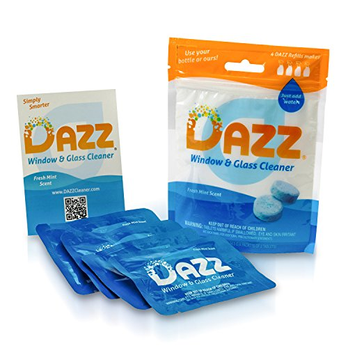 DAZZ Natural Cleaning Tablets - Window & Glass Cleaner Refill Pack - Makes (4) 32oz Bottles - Just Add Water