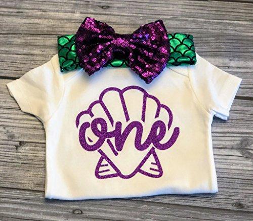 - mermaid bodysuit - first birthday bodysuit - mermaid party - birthday headband - under the sea - ONE onesie - purple bow - mermaid party - baby girl onesie