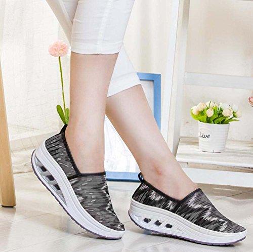 Zapatos zapatos tamaño de ocasionales corriendo gruesos malla mujeres las fondo respirables de zapatillas SHINIK atléticos 35 40 Gris deportivos de 8qax8d