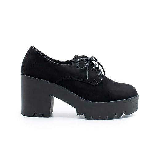 67f7e2c6 Zapshop C7760Z Zapato Tacon con Plataforma Blucher de Color Negro ...