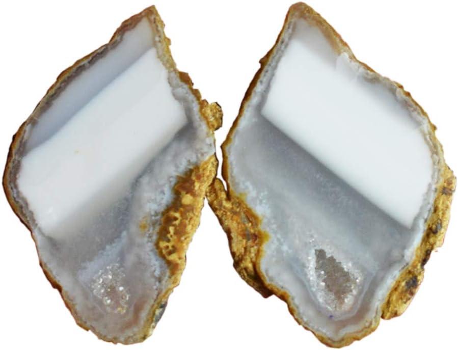 Par de gemas de ágata natural de alta calidad, tamaño 20 x 12 x 5,5 mm, par de pendientes de piedra AG-11356