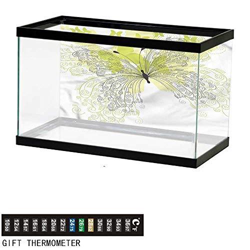 bybyhome Fish Tank Backdrop Flower,Artistic Ornate Butterflies,Aquarium Background,36
