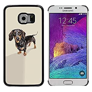 Be Good Phone Accessory // Dura Cáscara cubierta Protectora Caso Carcasa Funda de Protección para Samsung Galaxy S6 EDGE SM-G925 // Dachshund Badger Dog Black Brown