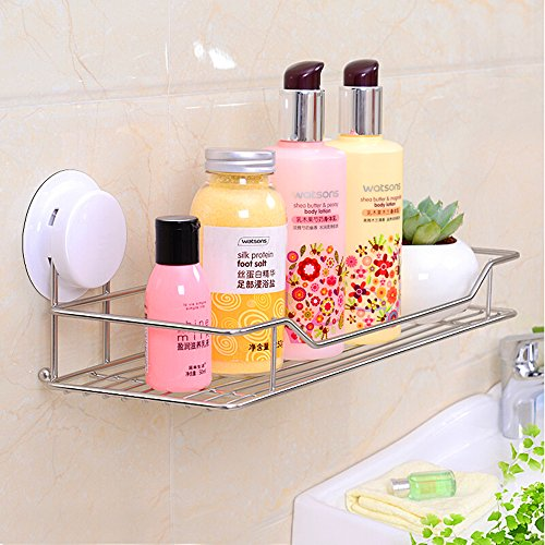 Gaoyu Suction Cup Wall Mounted Bathroom Kitchen Toilet Shelf Furniture Sets Stainless Steel Shower Caddy Shampoo Shower Gel Holder 260020