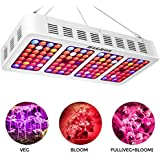 H&GROW 1200W LED Grow Light with Double Switch and Daisy Chain Function 3 Chips LED Plant Grow Lamp Full Spectrum with Reflector and UV/IR for Greenhouse and Hydroponic Indoor Plants Veg and Flower