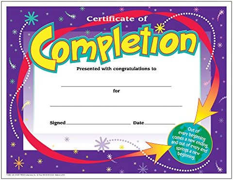 image relating to Printable Certificates of Completion known as Fashion businesses, Inc. Certification of Completion Colourful Clics Certs, 30 ct