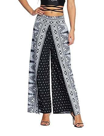 AMOMA Women Wide Leg Side Split Yoga Pants Summer Casual Elastic Wasit Loose Trousers Indie Folk Hippy Aladdin Boho Style Pants(Small/Medium,Black)