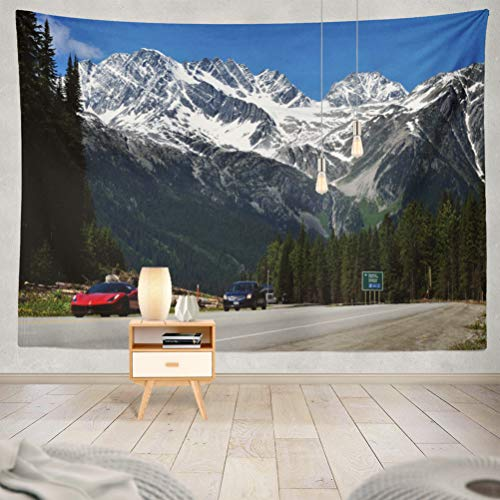 threetothree 60x80 Inches Tapestry Wall Hanging Interior Decorative British Canada June Scenic Route National Park Blue Europe for Bedroom Living Room Tablecloth Dorm