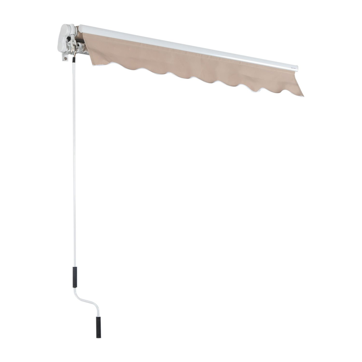 Outsunny 8' x 7' Patio Manual Retractable Sun Shade Awning - Cream by Outsunny (Image #3)