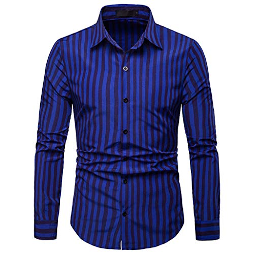 Sunmoot Striped Tops for Men Button Down Shirts Long Sleeve Casual Top Blouse Blue]()