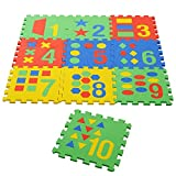 """NHR Colorful Kids play Puzzle style mat with Pop out Numbers, numbers in words and images. set of 10 Pcs (interlocking) 12"""" X 12"""" each Piece"""