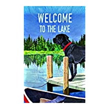 """""""Welcome To The Lake""""Lovely Dog Print House Flag decorative flags initial flags party flags 12.5 x 18 Inch banner home flags Print flags"""