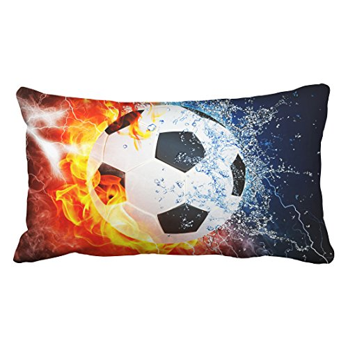 (Tarolo Decorative Ice and fire can Football Sports soccer center forward halfback Zippered Pillow Cases Covers pillowcase Size 20x36 inches(51x92cm) One Sided)