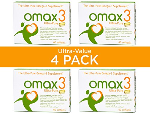 OMAX3® ✱4-Pack✱ Ultra-Pure 93.9% Omega-3 Wild-Caught Fish Oil High-Potency 1500 mg 4:1 Ratio EPA/DHA, NSF-Certified, Soy-Free, Gluten-Free, Non-GMO , 240 Softgels, 120-Day Supply by Omax3 (Image #1)